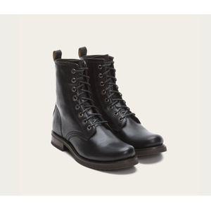 FRYE Veronica Black Leather Combat Boots SZ 9 1/2